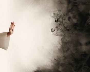 The hand of Jesus is reaching out to stop the darkness